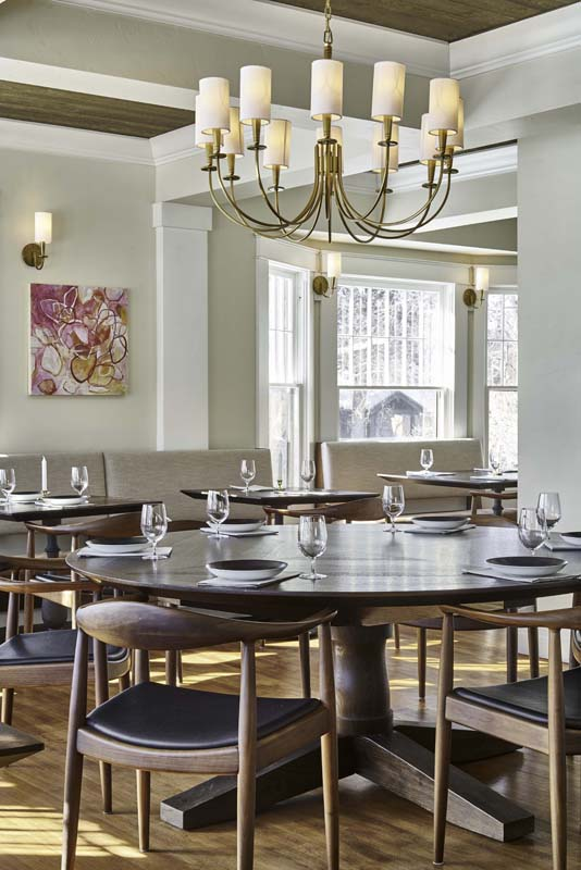 commercial dining space light fixtures and artwork